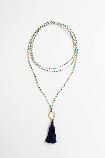Tassel + Brass Wrap Necklace