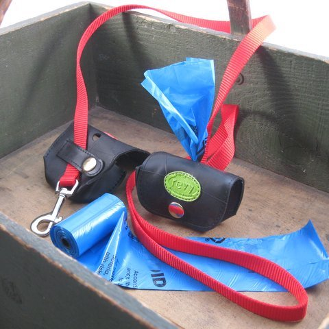 Upcycled tire doggy bag holder for leash - do good shop ethical gifts