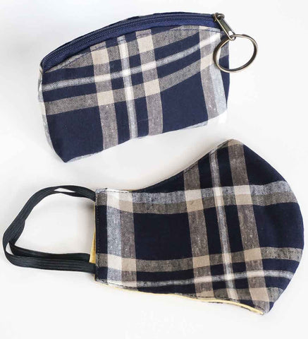 Mask and Zipper Pouch Set - Navy Plaid