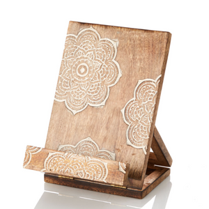 Hand Carved Tablet Recipe Book Stand - do good shop ethical gifts