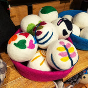 Hand-felted Floral Wool Dryer Balls