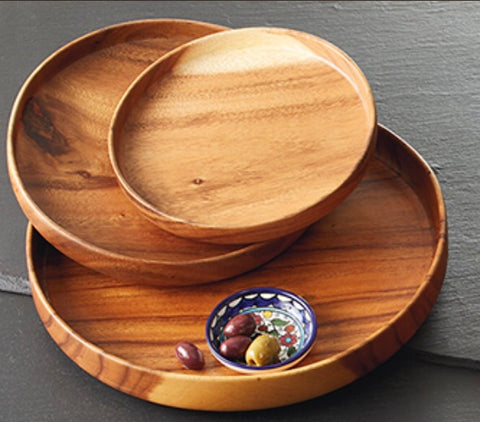 Round Wood Serving Trays - do good shop