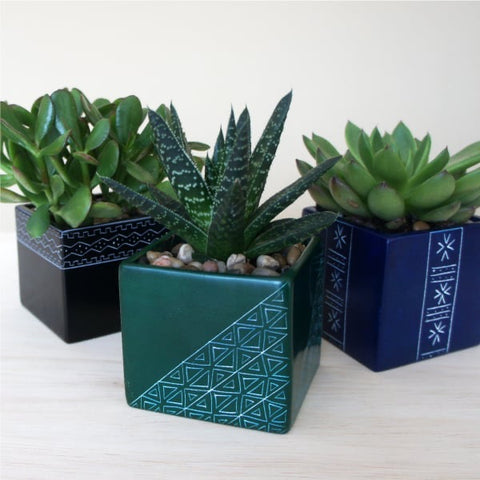 Square Patterned Stone Planter