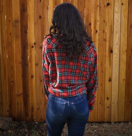 Fair Trade Clothing Red and Green Plaid Cotton Flannel Button Up Shirt