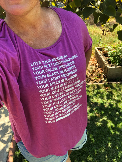 Love Your Neighbor Short Sleeve Tee Shirt (women's cut) - do good shop ethical gifts