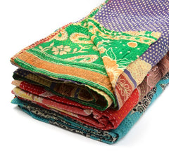 Kantha Sari Throw Blanket
