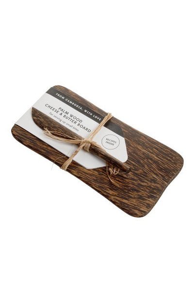 cheese.and.butter.board.handmade.fair.trade.palm.wood.knife.tray.set.of.2.sold.at.do.good.shop.ethical.gifts.for.kitchen.serving.appetizers