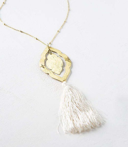Long Boho Window Necklace with Tassel