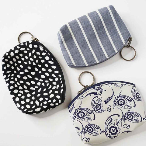 Mask and Zipper Pouch Set - Black and White Dots