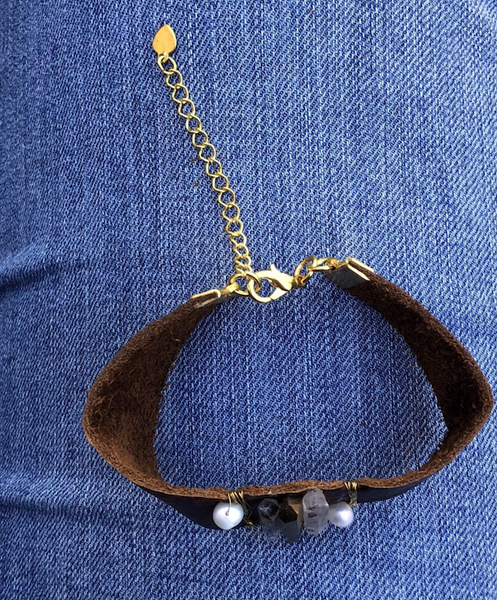 Leather Bracelet with Pearl and Crystal - do good shop ethical gifts