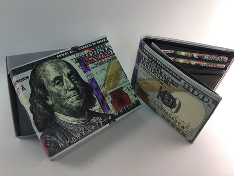 $100 Dollar Bill Novelty Money Billfold Canvas Wallet
