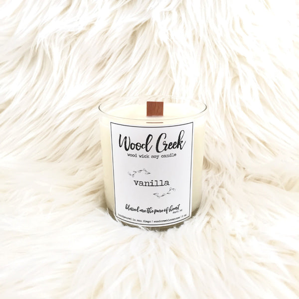 Vanilla Wood Wick Soy Candle in Clear Glass Jar - Wood Creek