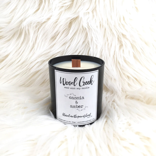 Cassia & Amber Wood Wick Soy Candle in Black Glass Jar - Wood Creek