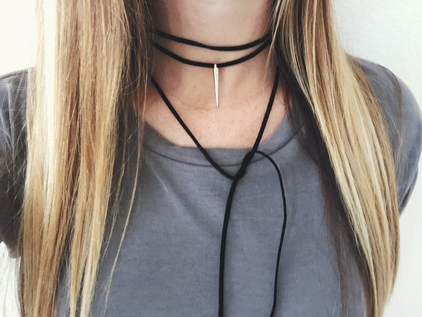 Black Suede Wrap Choker With Silver Spike