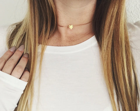 Tiny Gold Brass Heart Necklace - Wood Creek