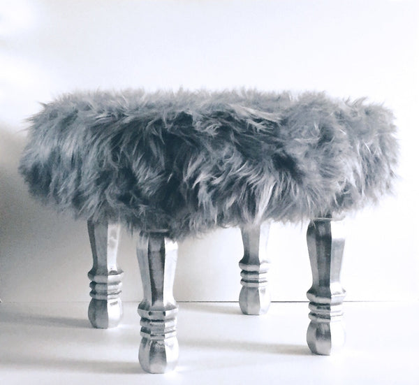 Grey Faux Fur Foot Stool - Wood Creek
