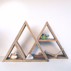 Hand Stained Triangle Wood Shelf - Wood Creek