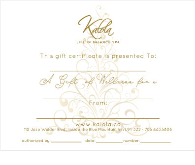 Gift Certificate for Kalola Wellness Spa