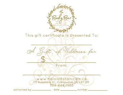 Gift Certificate for the Body Bar by Kalola Botanicals