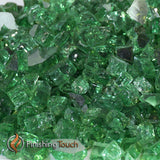 "1/4"" Rainforest Green Metallic Fireglass Crystals"