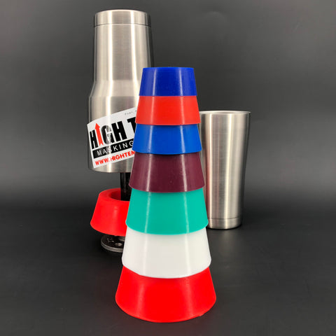 "7 Piece Custom Cup Powder Coating Kit - 1.875"" to 4"" High Temp Silicone Plugs"