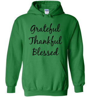 Grateful Thankful Blessed, Front Print Hoodie - 8 Colors (also in Youth sizes)