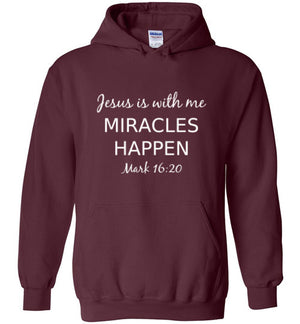 Jesus is With Me, Front Print Heavy Blend Hoodie - 10 Colors