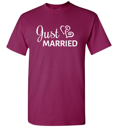 Wedding Style 6, Just Married, Front Print T-Shirt , 12 Colors for Him & Her