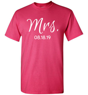 Wedding Style 2, Mrs. with Date, Front Print T-Shirt, 12 Colors