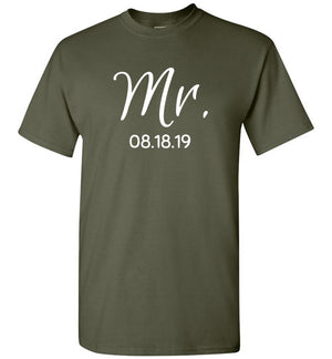 Wedding Style 2, Mr. with Date, Front Print T-Shirt, 12 Colors