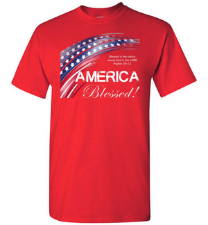 America Blessed, Psalms 33:12, Short Sleeve T-Shirt, Front Print, 12 Colors