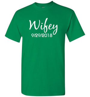 Wedding Style 1, Wifey, Front Print T-Shirt, 12 Colors