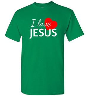 I Love Jesus, Short Sleeve T-Shirt, Front Print, 12 Colors
