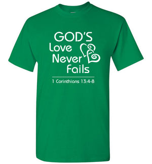 God's Love, 1 Corinthians 13:4-8, Short Sleeve T-Shirt, Front Print (White Font), 12 Colors