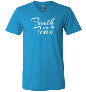 Faith Over Fear, Front Print V-Neck T-Shirt, Slightly Fitted, 13 Colors