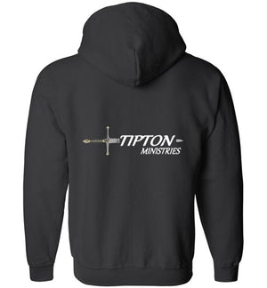 Tipton Ministry Logo, Back Print Only, Zip-Up Hoodie, 12 Colors