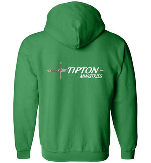 Tipton Ministry Logo, Front/Back Print, Zip-Up Hoodie, 12 Colors