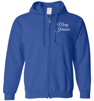 Tipton Ministry Logo on Back, Personalized Name on Front (2 lines), Zip-Up Hoodie, 12 Colors