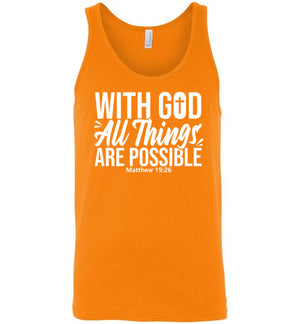 With God All Things Are Possible, Front Print Tank, 10 Colors