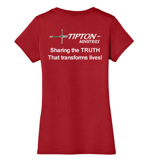 Tipton Ministry Logo, Sharing the Truth, Back Print V-Neck Ladies T-Shirt, 9 Colors