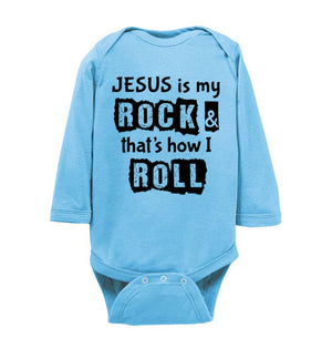 Jesus is My Rock, Front Print Infant Long Sleeve Bodysuit - 6 Colors