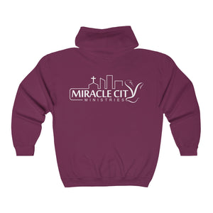 Miracle City Logo, Back Print Zip-Up Hoodie - 13 Colors