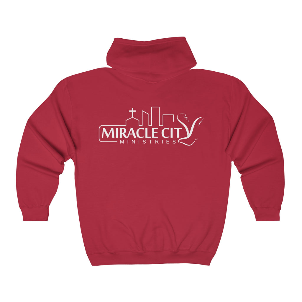 Long Sleeve Zip-Up Hoodie - Miracle City Logo on Back - 13 Colors