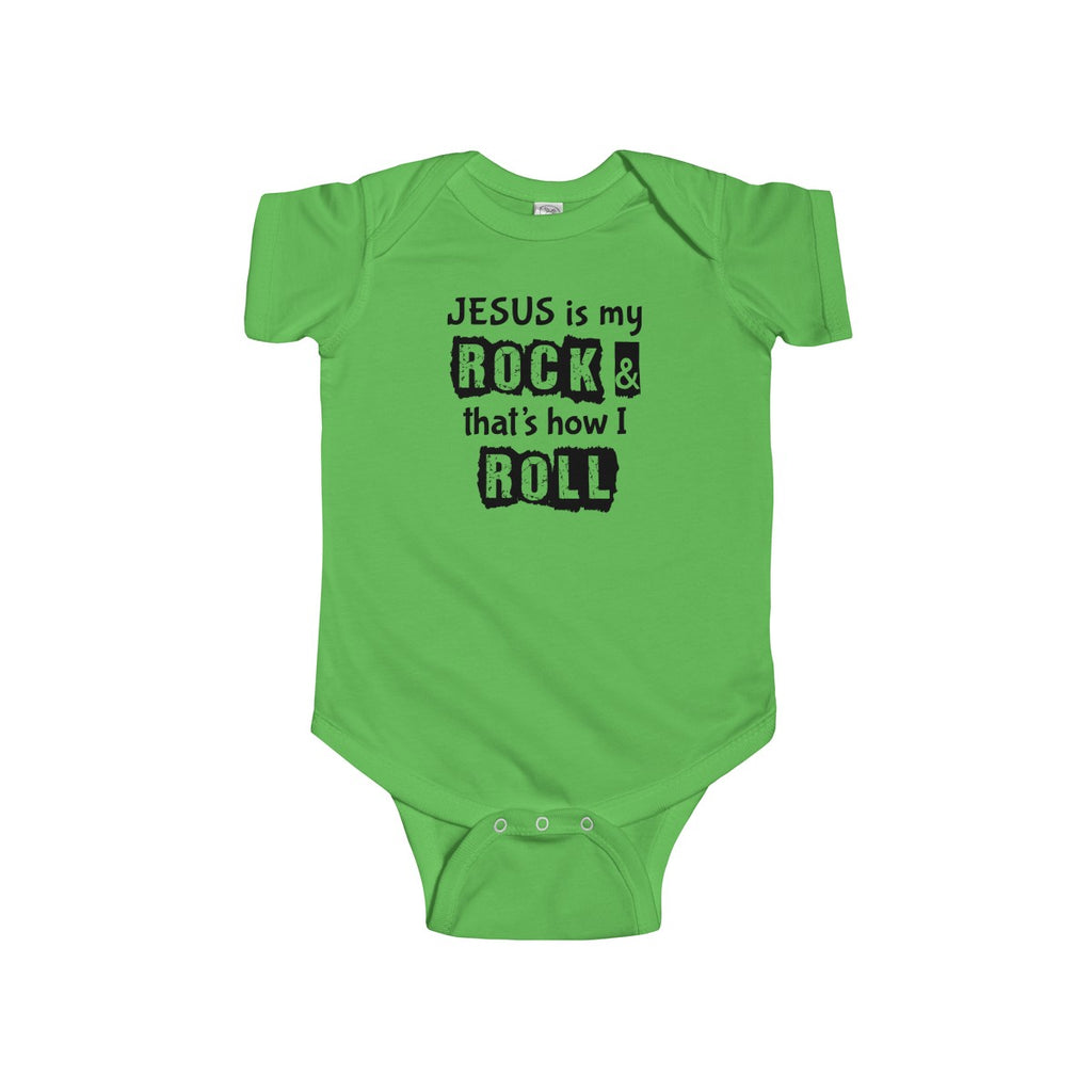 Jesus is My Rock, Front Print Infant Fine Jersey Bodysuit - 7 Colors