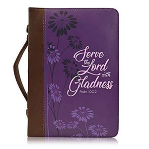 Bible Cover, Serve The Lord with Gladness, Psalm 100:2, Purple