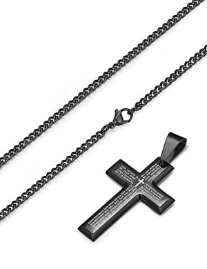 The Lord's Prayer, Stainless Steel Silver and Black Tone Crosses, 2 Crosses Included, 24""