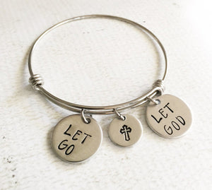 Let Go Let God, Cross, Stainless Steel Bracelet
