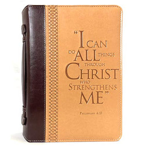 Bible Cover, I Can Do All Things Through Christ, Leather Look, Two Tone Burgundy/Tan