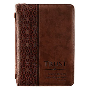 Bible Cover, Trust in the Lord, Proverbs 3:5, Brown Tile Design