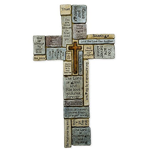 Christian Words and Sayings Resin Stoneware Wall Cross, 16""